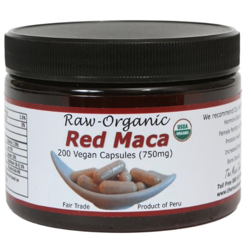 Red Maca Capsules - Organic, Raw, Vegan, Fair Trade - Gmo-Free - 750Mg - 200Ct