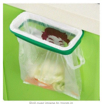 Plastic Hanging Garbage Rubbish Bag Holder for Kitchen Cupboard White & Green by Ozone48