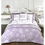 French Country Inspired Toile De Jouy Duvet Cover Set with Printed Illustrations Lilac Purple Single