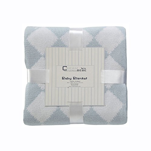 Cream Bebe Argyle 100% Cotton Knit Baby Blanket, Blue/White - 1