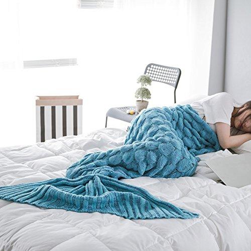 Sui Warm and Soft All Seasons Mermaid Blanket Sofa Quilt Living Room Blanket for Adult / Kids (Medium , 180*80CM) (Peacock Blue)