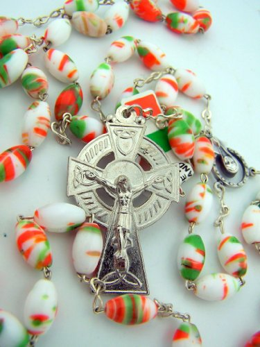 Silver Plate Green Orange White Marble Bead Irish Celtic Rosary w Irish Blessing