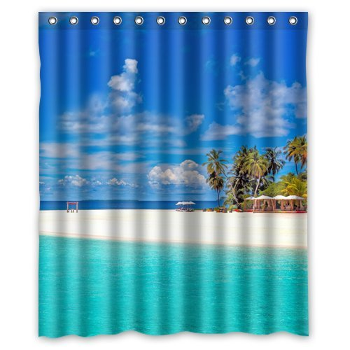 Custom Unique Design Palm Tree Beach Sea Cloud Waterproof Fabric Shower Curtain, 72 By 60-Inch front-631436