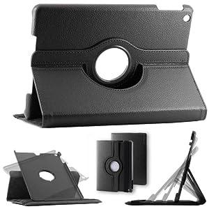 ebestStar - Pour Tablette Apple IPAD AIR / iPAD 5 / iPad5 - Housse Etui SMART COVER en PU cuir, couleur NOIR, magnétique / aimantée pour la mise en veille, coque arrière rigide, format rotatif, à ROTATION 360° (convertible en format livre / portefeuille ou vertical) + 1 film de protection d'écran transparent