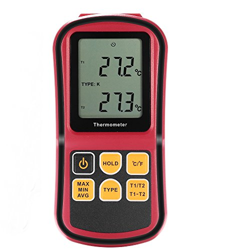 Digital Thermometer, Temperature Controllers Bi-channel Input LCD Blacklight with Two K-type thermocouple the Current Measurement Hold for J/K/T/E/N/R Type Thermocouples Directly Contact with Measured (Digital Thermometer K Type compare prices)