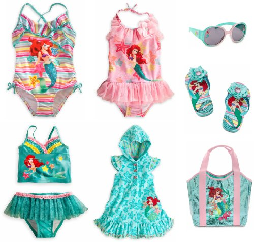 Disney Store Ariel The Little Mermaid 7-Piece Swimsuit Set Size Small 5/6 (5T)
