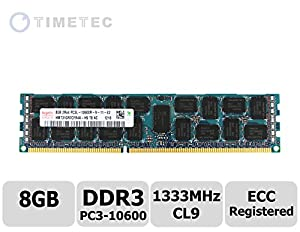 Timetec Hynix 8G DDR3L 1333MHz (PC3-10600) Registered ECC 1.35V CL9 2Rx4 512x4 Dual Rank 240-Pin RDIMM Server Memory Module Upgrade (Server Only, Not for Desktop/Laptop)(8G)