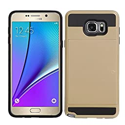 Samsung S7 Edge Impact Hybird Wallet Card Slot Case-Superstart Shockproof Resistant Hard PC + Soft TPU Rubber Bumper Cover for Samsung S7 Edge(Samsung S7 Edge, Gold)