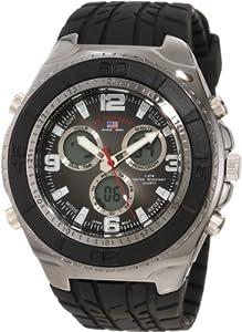 U.S. Polo Assn. Sport Men's US9024 Black Textured Strap Analog Digital Watch