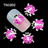 Fission 10 Pcs/Pack New 2017 Whole Pink Ladybug 3D Nail Art Decorations DIY Alloy Nails Tools Top Nail TN1002