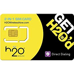 H2o H20 Wireless Micro / Standard 2 in 1 SIM Card for Any Unlocked GSM Phonew/ $35 Plan Unlimited Talk, Text. 500 Mb Unlimtied Web, $10 International Calling