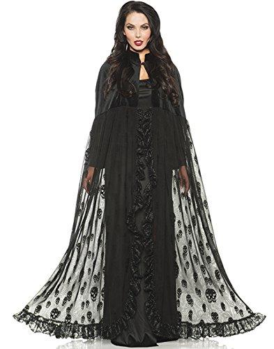 Underwraps Black Velvet Mesh Gothic Vampire Witch Skull Cape One Size