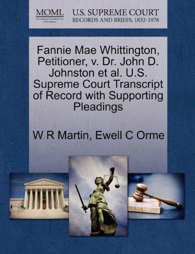 fannie-mae-whittington-petitioner-v-dr-john-d-johnston-et-al-us-supreme-court-transcript-of-record-w