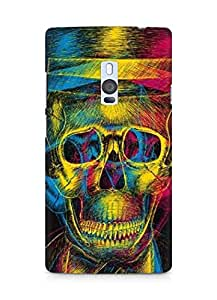 Amez designer printed 3d premium high quality back case cover for OnePlus Two (Colorful Overlap Skull In Hat Design Art)