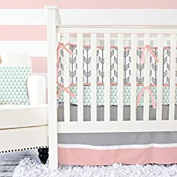 Caden Lane Mint and Coral Arrow 2 Piece Crib Bedding Set