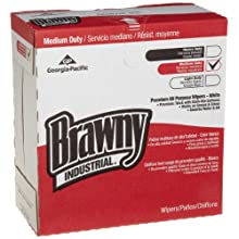 "Brawny Industrial 20080/03 White Premium All Purpose DRC Wiper, 16.3"" Length x 12.5"" Width (Box of 152)"