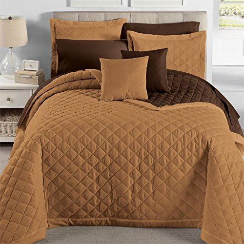 Brylanehome Studio Quilted Reversible Bedspread (Latte Chocolate,Twin) (Twin Quilted Coverlet compare prices)
