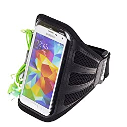 SumacLife Mesh Outdoor Running Sports Armband Case Pouch for Samsung Galaxy S5 / NOTE 3 / Sony Xperia Z2 / HTC ONE M8 (Black Mesh)