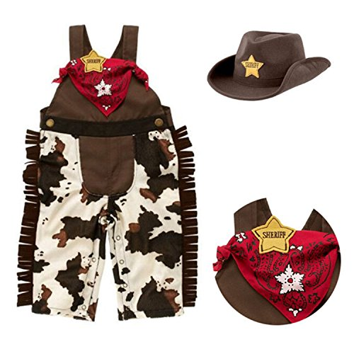 [Baby Boy West cowboy Sleeveless Straps Romper + Scarf + Hat 3 Piece Suit (18-24Month, Coffee)] (Cowboy Outfit)