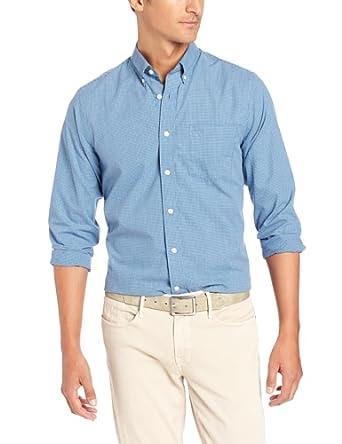 Dockers Men's Mini Check Long Sleeve Shirt, Havelock Blue, Large