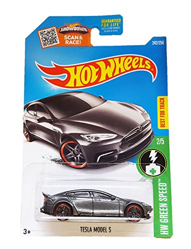 Hot Wheels, 2016 HW Green Speed, Tesla Model S [Dark Gray] #242/250 (Tesla Model S Hot Wheels compare prices)