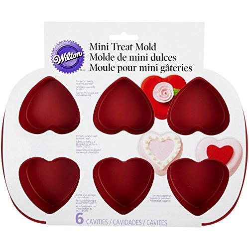 Wilton 6-Cavity Silicone Heart Mold Pan for Cupcakes