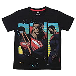Bio world Boys Round Neck Superman Tween Cotton Half Sleeve T-Shirt Black [8903346242399] -(11-12 years )