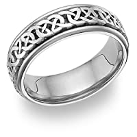 Celtic Knot Wedding Band Ring, 14K White Gold