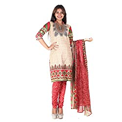 RangoliSF Woman's Cotton Unstitched Dress Material (RSFT1013 Red)