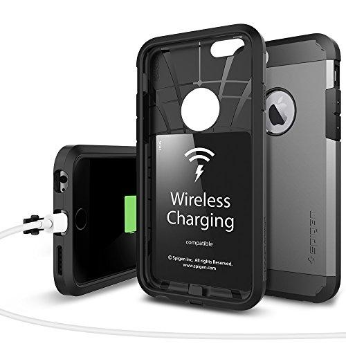 Spigen iPhone6s ケース / iPhone6 ケース, タフ・アーマー ボルト [Qi チー 規格 ワイヤレス充電 対応] アイフォン6S / 6 用 カバー (ガンメタル SGP11560)