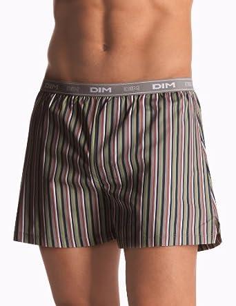 Dim Caleçon - Lot de 2 - Homme - Multicolore (Imprimé Rayures Multico/Gris) - FR : Medium (Taille fabricant : 3)