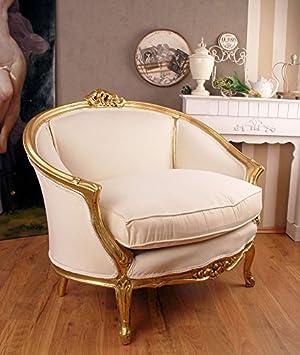 Königliches Sofa, Diwan, Kanapee, Ottomane, Liege mit königlichem Ambiente im Rokoko-Stil in Weiß - Palazzo Exclusive