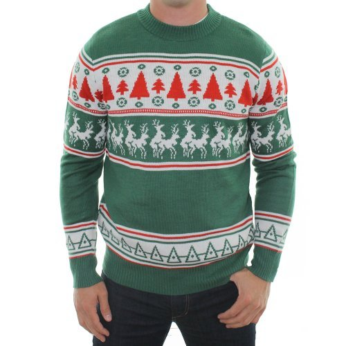 Ugly Christmas Sweater – Reindeer Conga Line Sweater by Tipsy Elves (L)