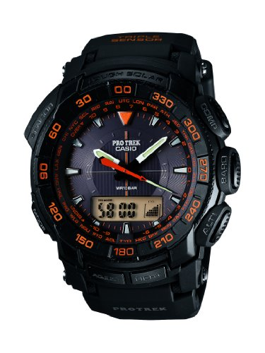 Casio Pro-Trek Men's Quartz Watch with Black Dial Analogue - Digital Display and Black Resin Strap PRG-550-1A4ER