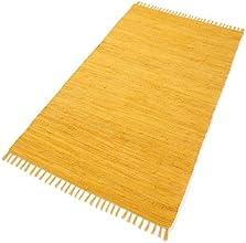 PuRo Lifestyle HWT-107024-090 Tapis 100 % coton Jaune curry 90 x 160 cm