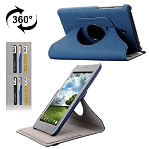 360 Degree Rotation Denim Texture Flip Leather Case with Holder & Credit Card Slots for Asus Fonepad 7 / ME372CG (Dark Blue)