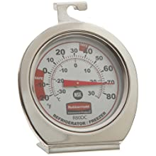 Rubbermaid Commercial FGR80DC Stainless Steel Refrigerator/Freezer Monitoring Thermometer, -20 to 80 Degrees F Temperature