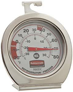 Rubbermaid Commercial FGR80DC Stainless Steel Refrigerator/Freezer Monitoring Thermometer, -20 to 80 Degrees