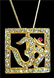 DollsofIndia Gold Plated and Stone Studded Pendant - Om in a Square Frame - Metal - Golden, Yellow
