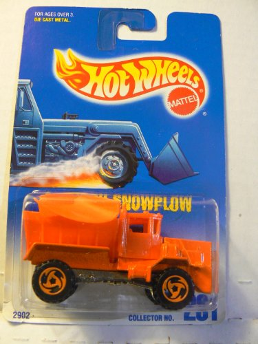 Hot Wheels Oshkosh Snowplow #201 with 3 Spoke Razor Wheels on Blue and White Card - 1