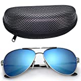 LotFancy Men's Aviator 61mm Sunglasses With Carrying Case,100% UV 400 Protection