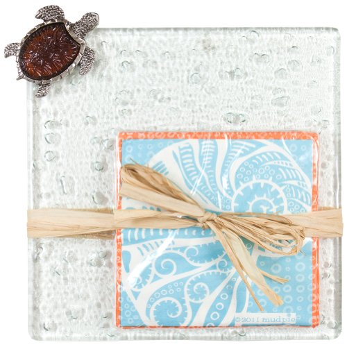 Mud Pie - Turtle Amber Icon Board With Twelve Nautilus Napkins front-560742