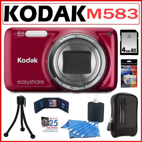 Kodak EasyShare M583 14MP Digital Camera with 8x Optical Zoom in Red + 4GB Accessory Kit