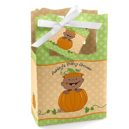 Little Pumpkin African American - Personalized Baby Shower Favor Boxes front-59462