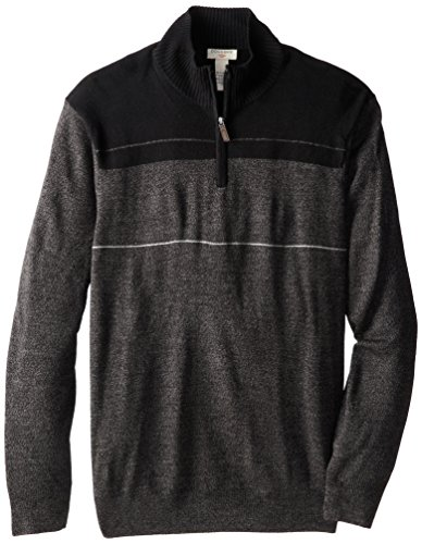 Dockers Men's Allover Color Block Stripe 1/4 Zip, Asphalt, 3X/Big