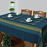 Cotton Woven Table Cover And Placemat Set For 4 Seater Table - Set Of 5 - Blue