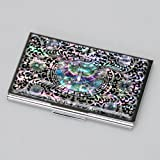 Mother of Pearl Black Purse Pocket Business Credit Id Name Card Holder Case Metal Stainless Steel Engraved Slim Money Wallet with Butterfly and Arabesque Design