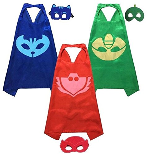 [PJ Masks Costumes For Kids Set of 3 Catboy Owlette Gekko Mask with Cape(27.5IN)] (Pj Masks Owlette Halloween Costume)