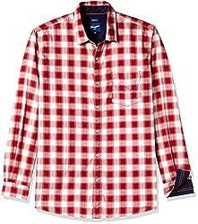 Wrangler Men's Casual Shirt (8907222644918_W1485194508Z_Large_Maroon)