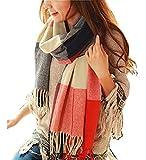 Wander Agio Women's Fashion Long Shawl Big Grid Winter Warm Lattice Large Scarf Red Winter